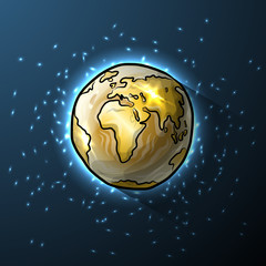 Golden doodle globe in space