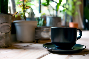 A coffee cup displayed in the window vintage color