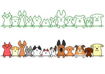 犬と猫 一列 コピースペース セット
