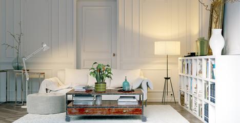 Sofa und Leseecke in Altbauwohnung