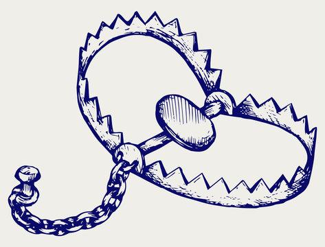 Bear trap. Doodle style