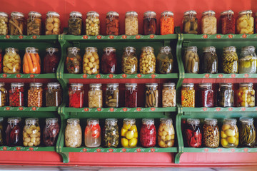 Banks with pickled vegetables