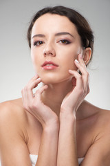 Woman with perfect skin. She looking natural and fresh