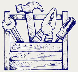 Toolbox with tools. Doodle style