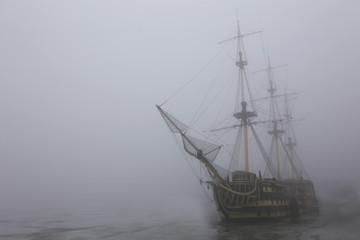 old ship in the fog of the winter Parking