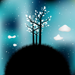 Tree silhouette on night sky.