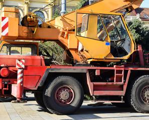 Cabin of the mobile crane truck