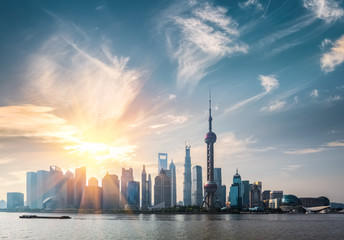Aluminium Prints Shanghai shanghai skyline in sunny morning