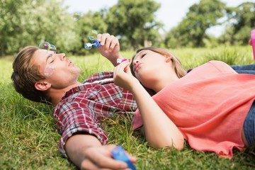 Cute couple in the park blowing bubbles