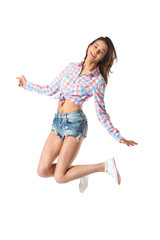 Happy Beautiful Jumping Smiling Girl On White Background