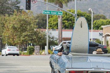 surf board in a car