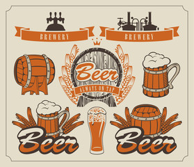 set of design elements and emblems for beer and brewery