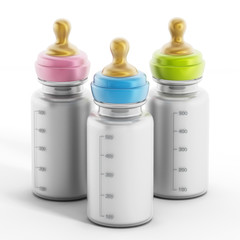 Baby bottles with milk