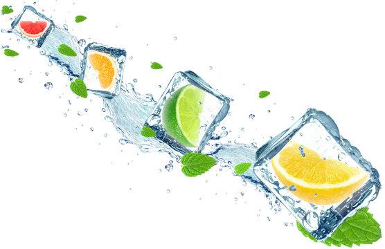 citrus fruits splash