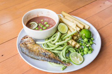 Chili paste with fried mackerel and vegetable Thai food