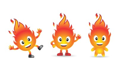 Cartoon Character Fire Flame Icon Logo Vector Pack
