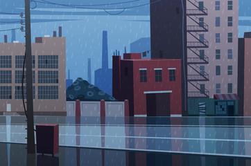 Canvas Print - Rainy cityscape. Vector illustration.