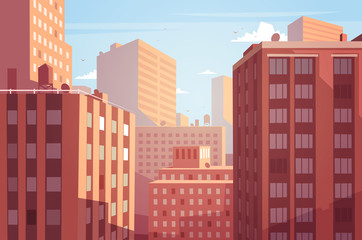 Sunset cityscape. Vector illustration.