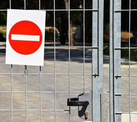 Do not enter sign on the metal door