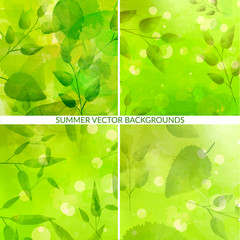 Set of green nature backgrounds with leaves and bokehs. Fresh