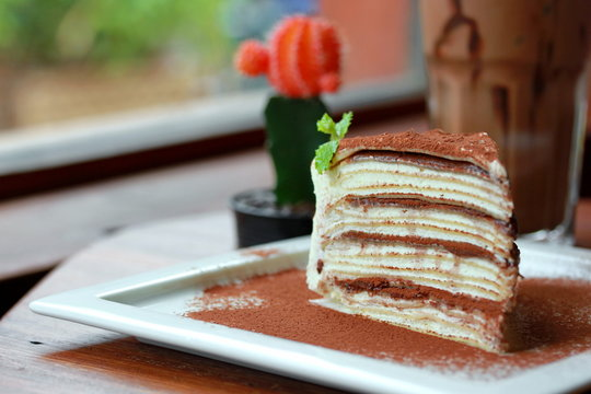 A piece of nutella crepe cake