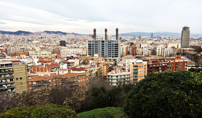 Residence district in Barcelona from Montjuic. Catalonia, Spain