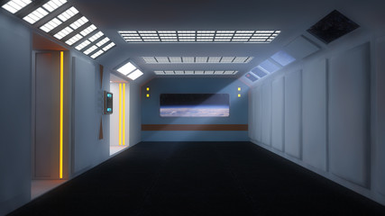 Futuristic room and planet