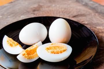 Shell boiled egg  on back plate background