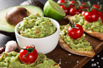 Guacamole with bread and avocado