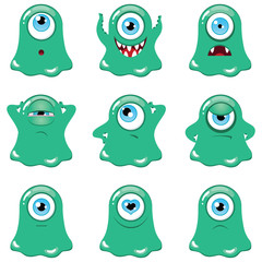 Set of funny cartoon green monsters