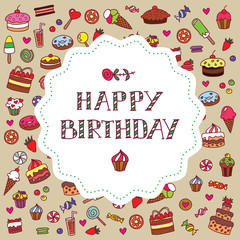 Vector doodle colorful birthday card with sweets