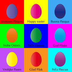 Happy easter gift card colorful eggs flat design background