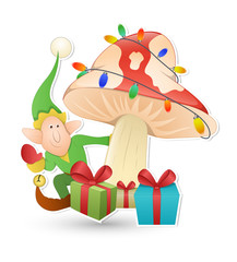 Cartoon Elf Character with Decorative Lights Tree and Gift Boxes