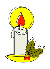 Candle with Holy Leaves Vector
