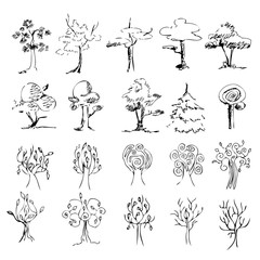 set of 20 trees on a white background , sketch