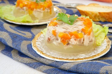 Jellied minced chicken on a festive plate