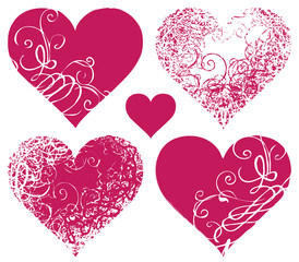 set symbols of hearts with floral ornament
