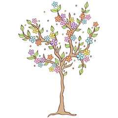 colorful  spring tree on white background