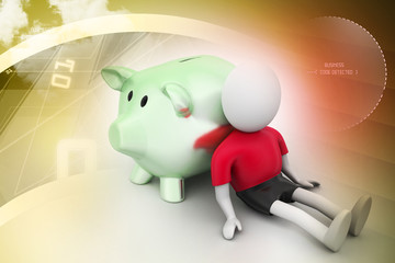 3d man and piggy bank