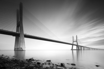 Vasco de Gama bridge B&W