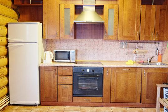 Classic brown kitchen interior