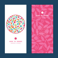 Vector colorful branches vertical round frame pattern invitation