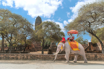Tourist on elephant sightseeing in Ayutthaya Historical Park, Ay