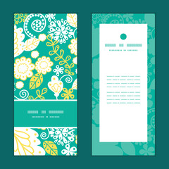 Vector emerald flowerals vertical frame pattern invitation