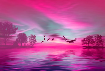 Garden Poster Pink Beautiful landscape with birds