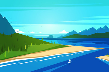 Canvas Print - Seashore landscape. Vector illustration.