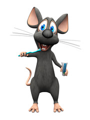 Smiling cartoon mouse brushing his teeth.