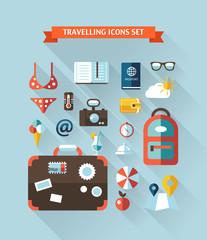 Illustration of vector travel flat design composition
