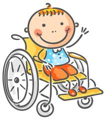 Friendly boy in a wheelchair