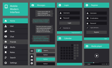 Illustration of flat design mobile interface
